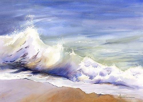 500x357 Ocean Wave Study Watercolor