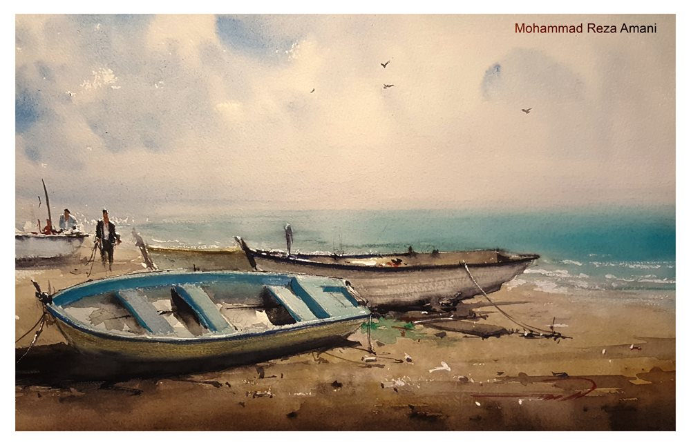 1000x645 Seascape Boats Watercolour Painting Inspired By