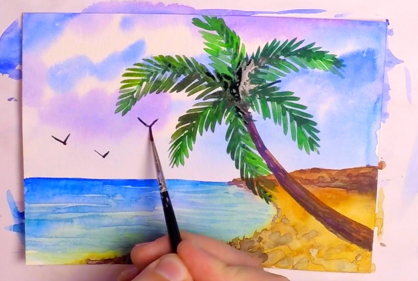 1335x897 How To Paint A Tropical Beach In Watercolor