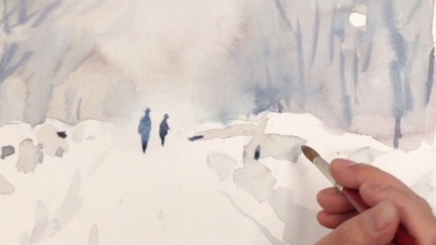 1458x820 How To Watercolor Painting Tutorial Of A Snow Street By Yong Chen
