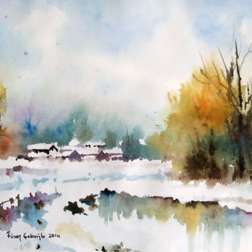 354x354 Best Watercolor Painting Snow Products On Wanelo