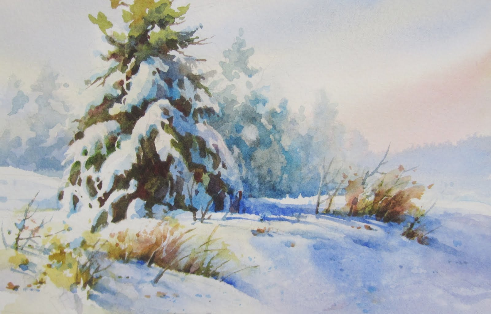 1600x1025 Painting Winter Snow In Watercolor Roland Lee
