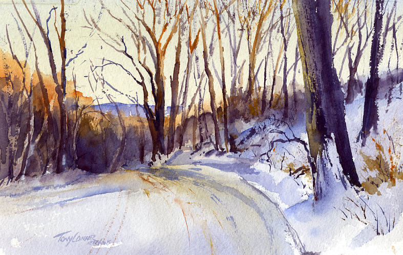 787x498 Snow Original Watercolor Painting Vermont Watercolor