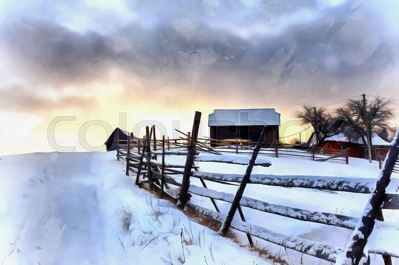 800x532 The Works In The Style Of Watercolor Painting. Winter Landscape