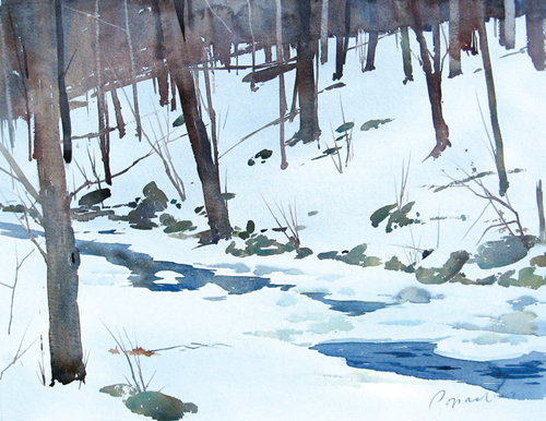 500x386 Watercolor Winter Wonderland Snow Landscapes, Snow Painting