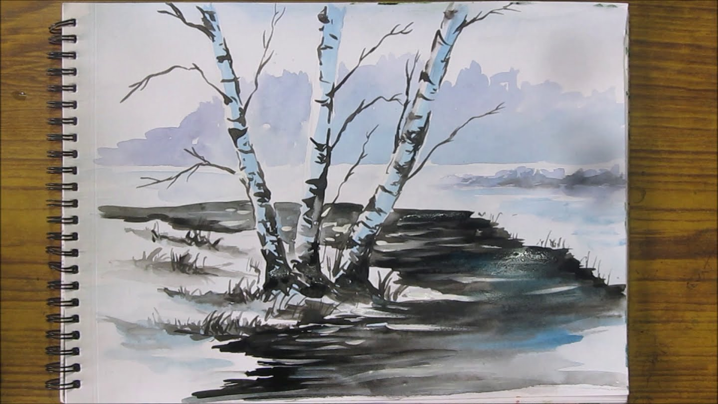 1440x810 How To Paint Snow Scene In Watercolor, Watercolor Painting For