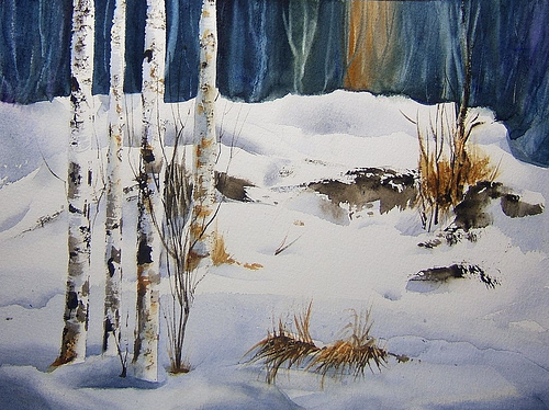 500x374 Fresh A Watercolor Winter Landscape A Painting A Day