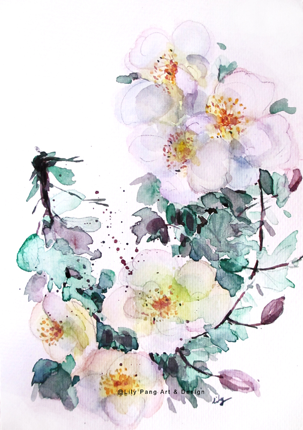 600x852 Lily Pang And Michelle White Flowers Original Watercolor Painting