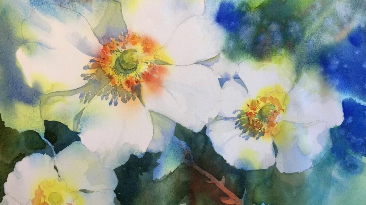 1280x720 Negative Painting With Watercolor White Blossoms