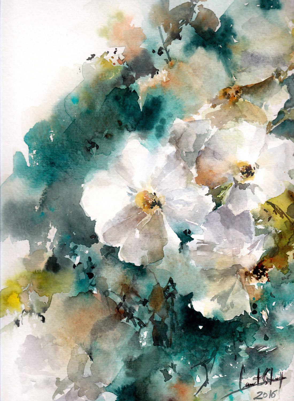 1100x1500 Original Watercolor Painting, Jasmine Painting, White Flowers