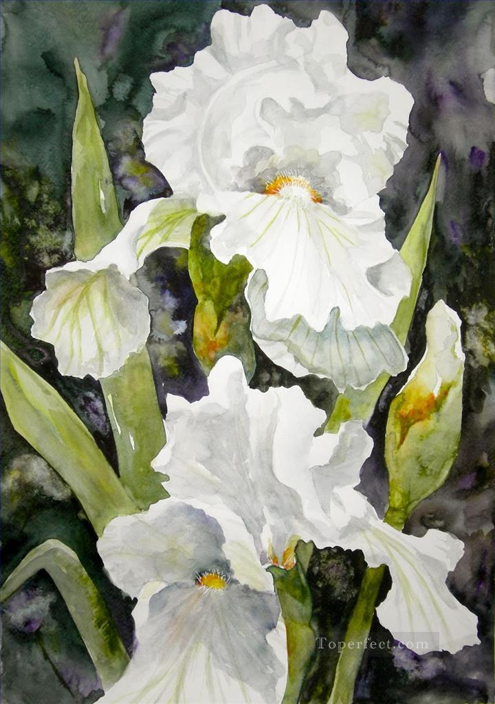 720x1025 White Flower Watercolor Painting In Oil For Sale