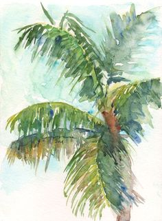 Palm Tree Watercolor Paintings