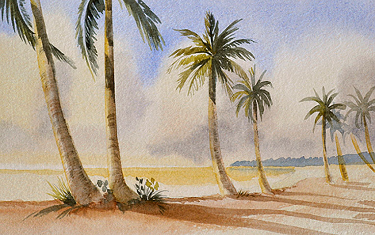 764x480 Palm Tree Watercolor Painting