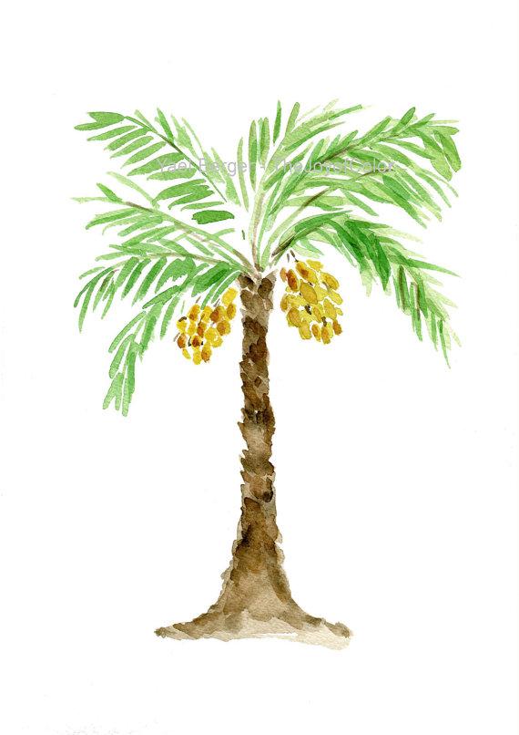 570x806 Palm Tree Art Print, Palm Tree Watercolor Print, Green, Brown