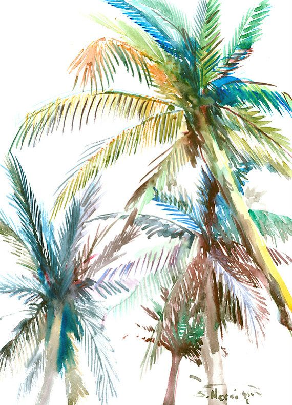 570x789 Palm Trees, Original Watercolor Painting, 16 X 12 In, Sage