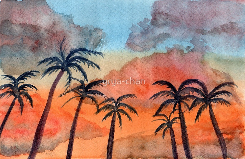 1000x648 Sunset Upon Palm Trees