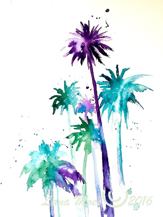 570x760 Tropical Palm Trees Watercolors Painting Travel Illustration Etsy