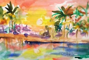 300x204 Tropical Sunset Marsh Palm Tree Watercolor Painting Delilah Art Ebay
