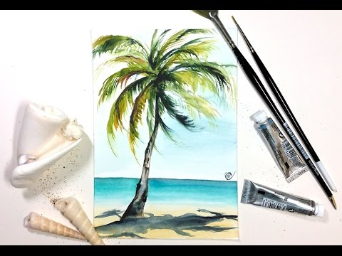 480x360 Easy Watercolor Real Time Palm Tree Painting Demonstration