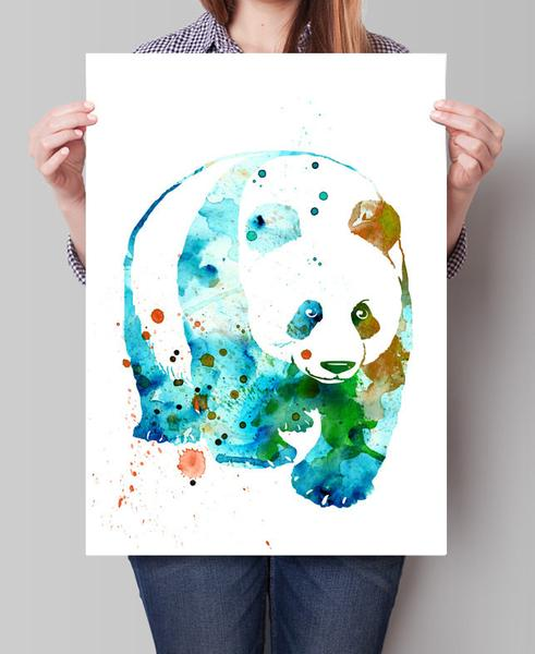 491x600 Panda Watercolor Print, Watercolor Painting, Panda Art, Panda Wall