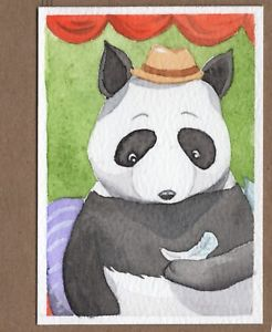 246x300 Aceo Original Miniature Watercolor Painting Panda With A Pandora