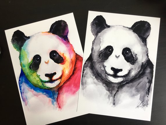 570x428 Panda Watercolour Painting Etsy