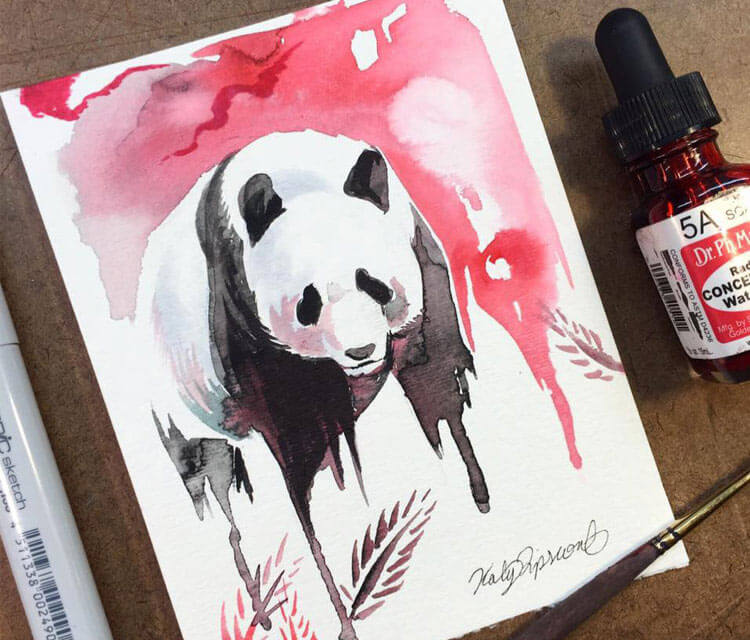 750x640 Panda Watercolor Painting By Katy Lipscomb Art No. 2879