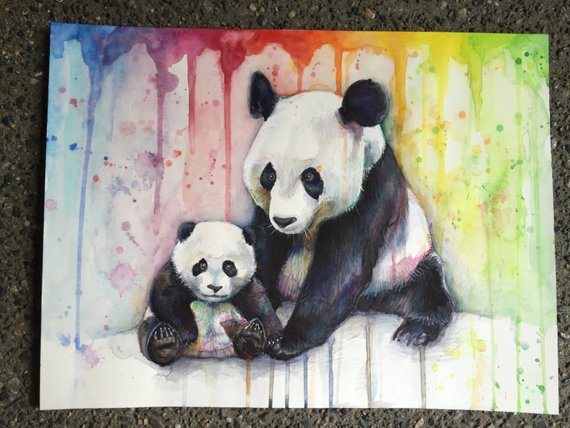 570x428 Pandas Watercolor Rainbow Original Watercolor Painting Panda Etsy