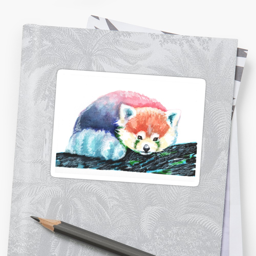 1000x1000 Rainbow Red Panda, Watercolor Painting Stickers By