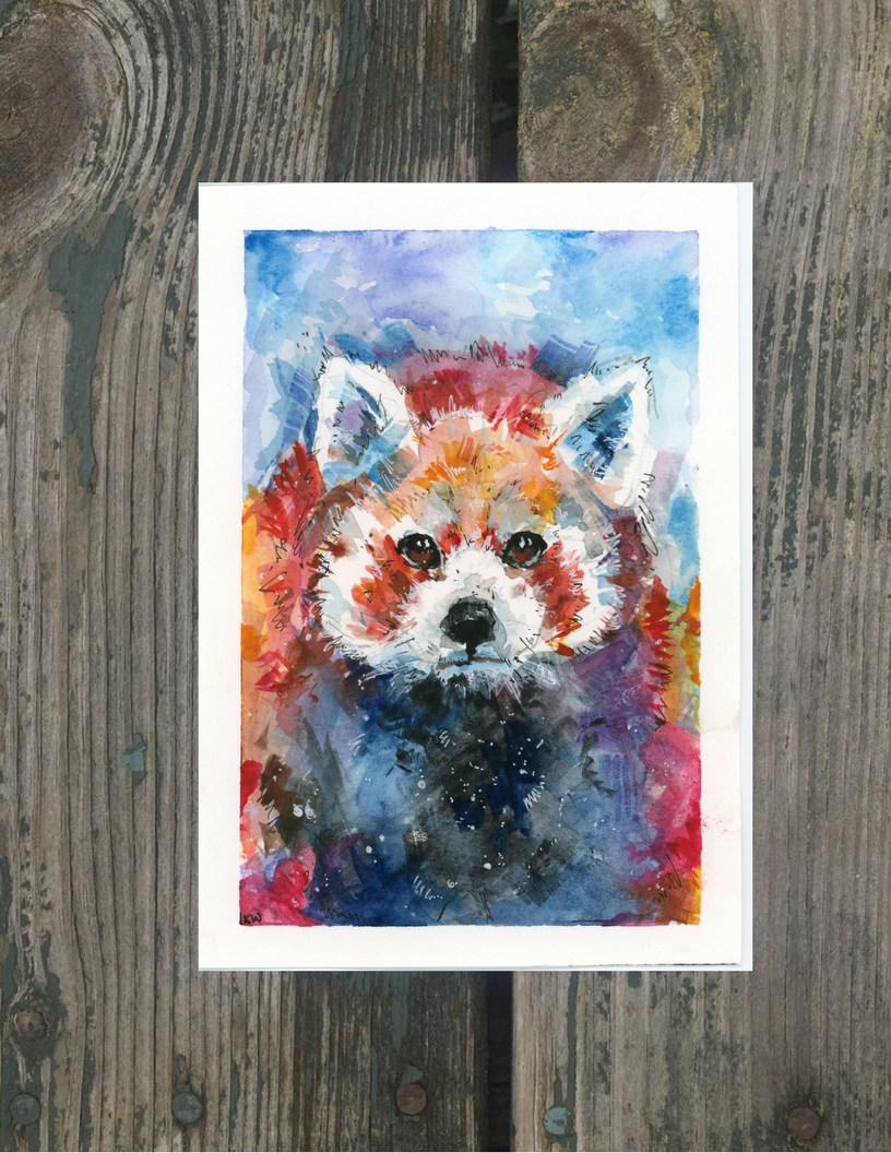 816x1056 Red Panda Original Watercolor Giclee Fairy Gardens