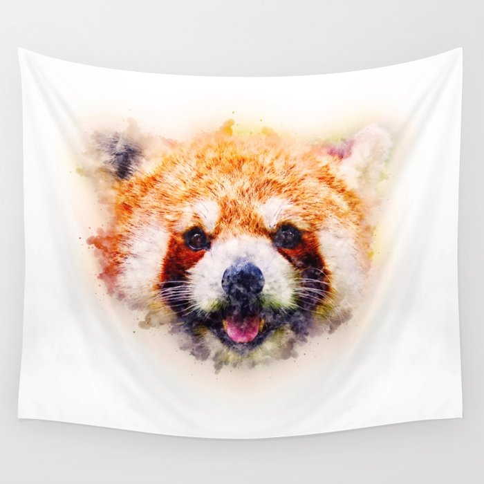 700x700 Red Panda Watercolor Painting Art Wall Tapestry By Shovalperez