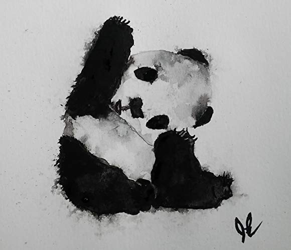 580x500 Original Panda Bear Watercolor Painting Original