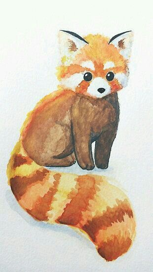 310x550 Red Panda Watercolor Painting Animal Painting, Art, Artwork