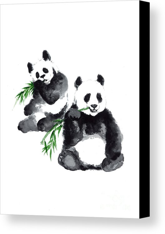 529x750 Two Pandas Watercolor Painting Canvas Print Canvas Art By Joanna