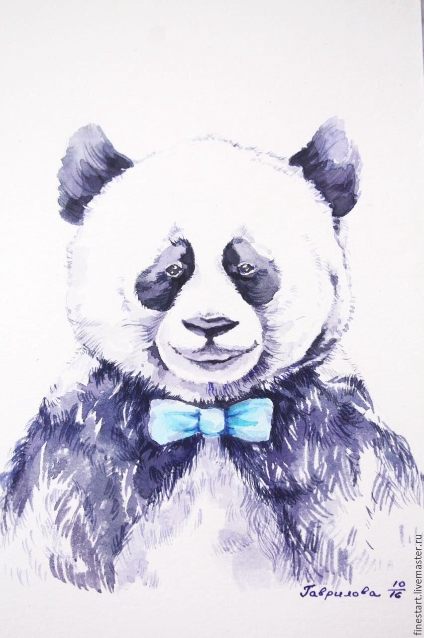 852x1280 Watercolor Bear Panda Bear Shop Online On Livemaster With