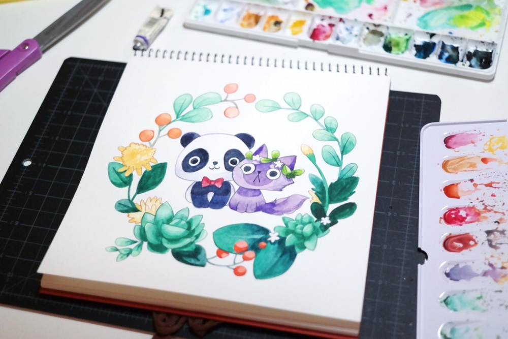 1000x667 Watercolor Painting A Panda And A Purple Cat Thousand Skies