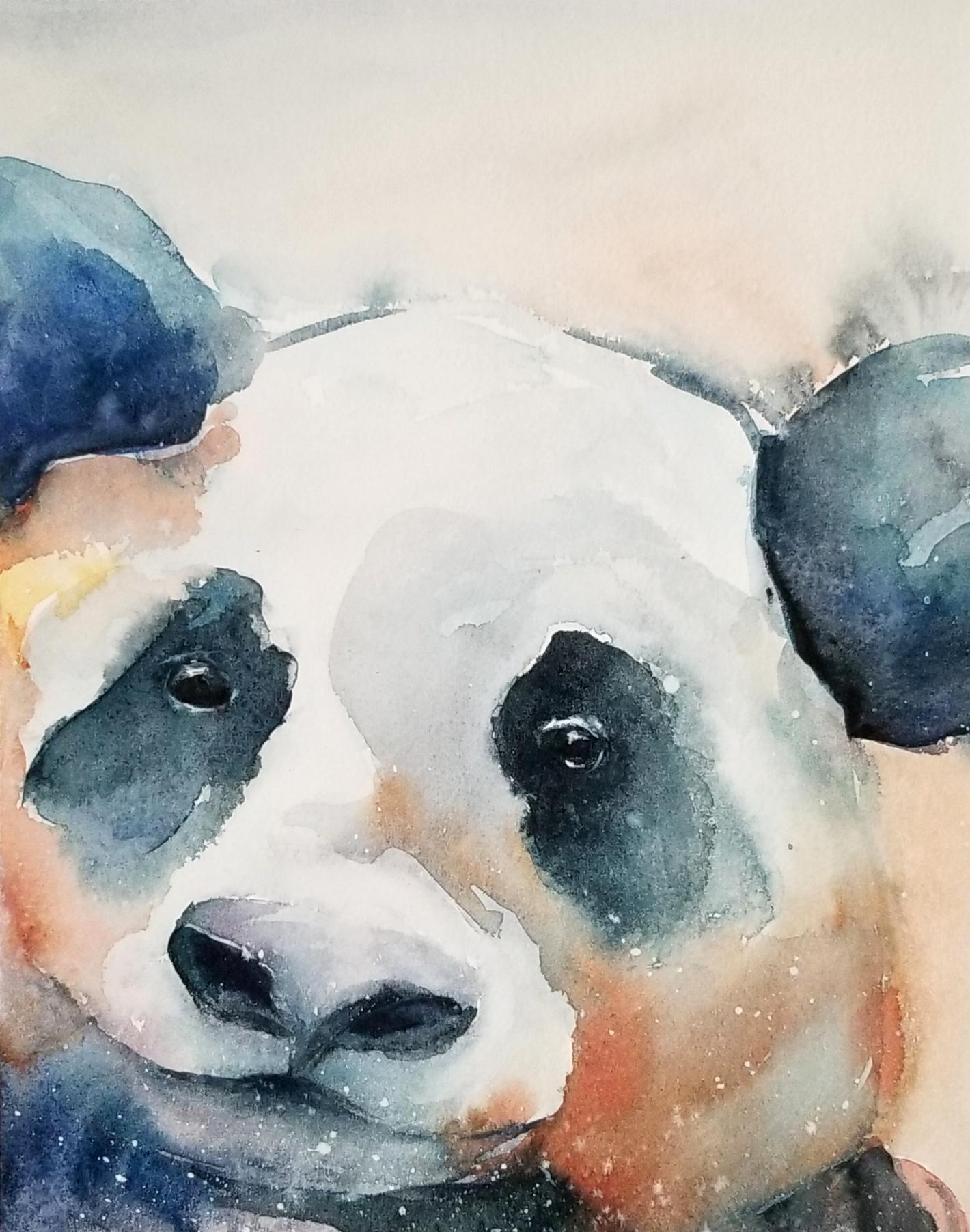 1420x1804 Baby Panda Watercolour, 8x10 Watercolor