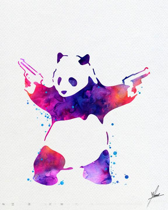 576x720 Banksy Panda Bear Watercolor Painting Art Print Wall Art Poster