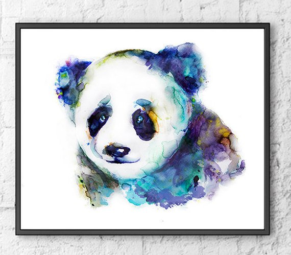 570x499 Blue Art Watercolor Painting Panda Watercolor Animal Print Etsy
