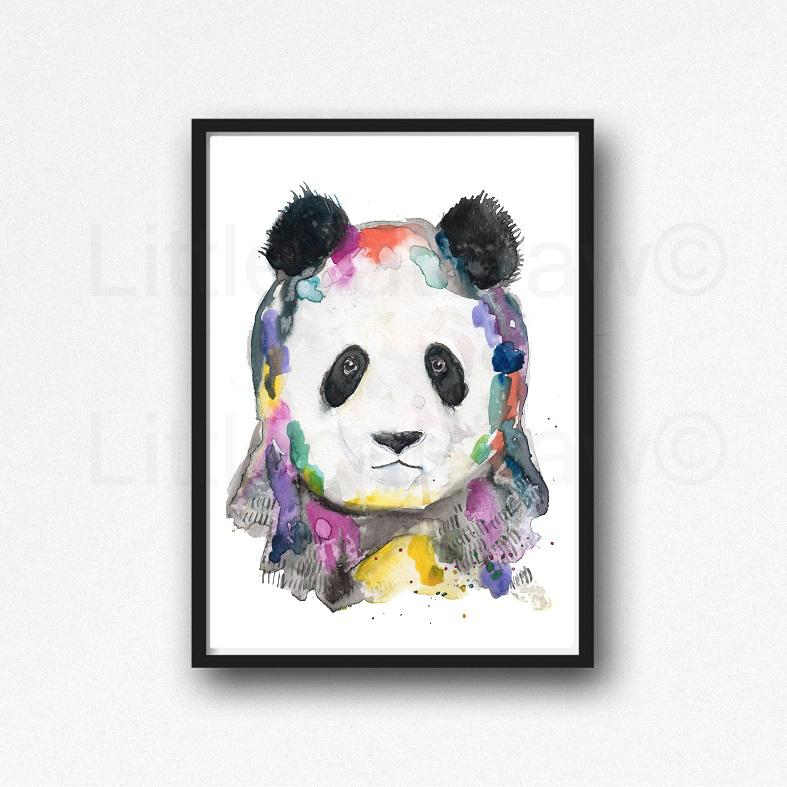 787x787 Buy Rainbow Panda Portrait Watercolor Painting Print Watercolour