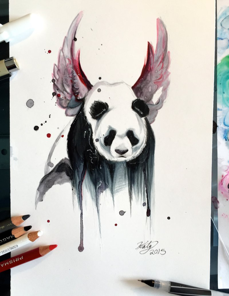 800x1035 Drawn Panda Paint Splatter