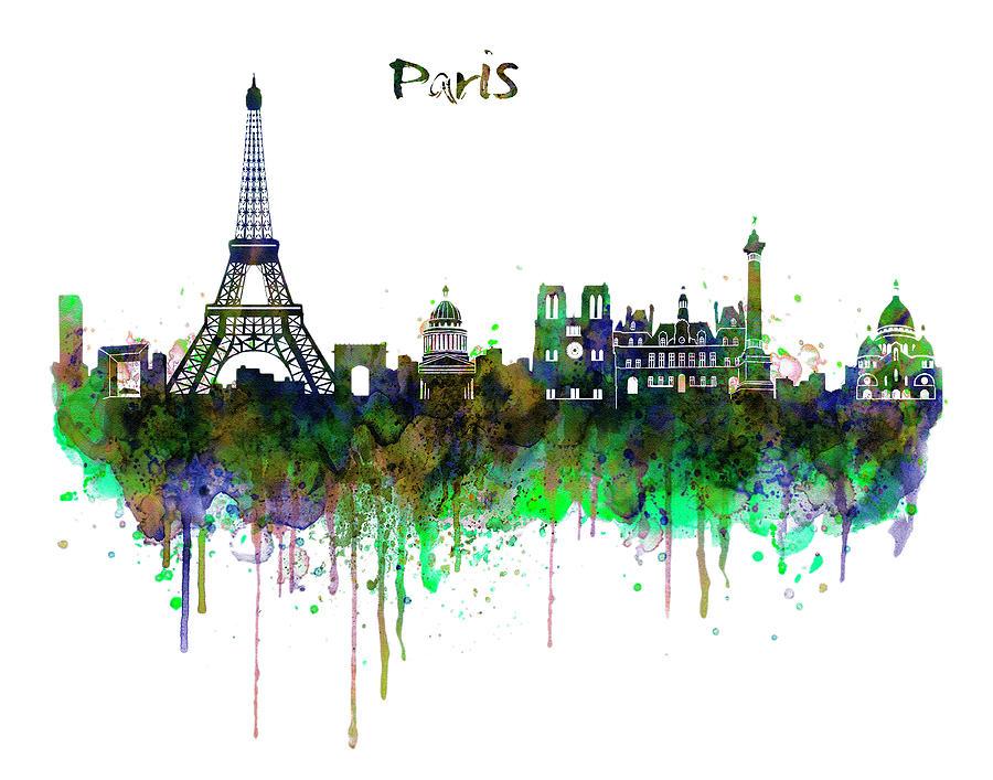 900x707 Paris Skyline Watercolor Painting By Marian Voicu