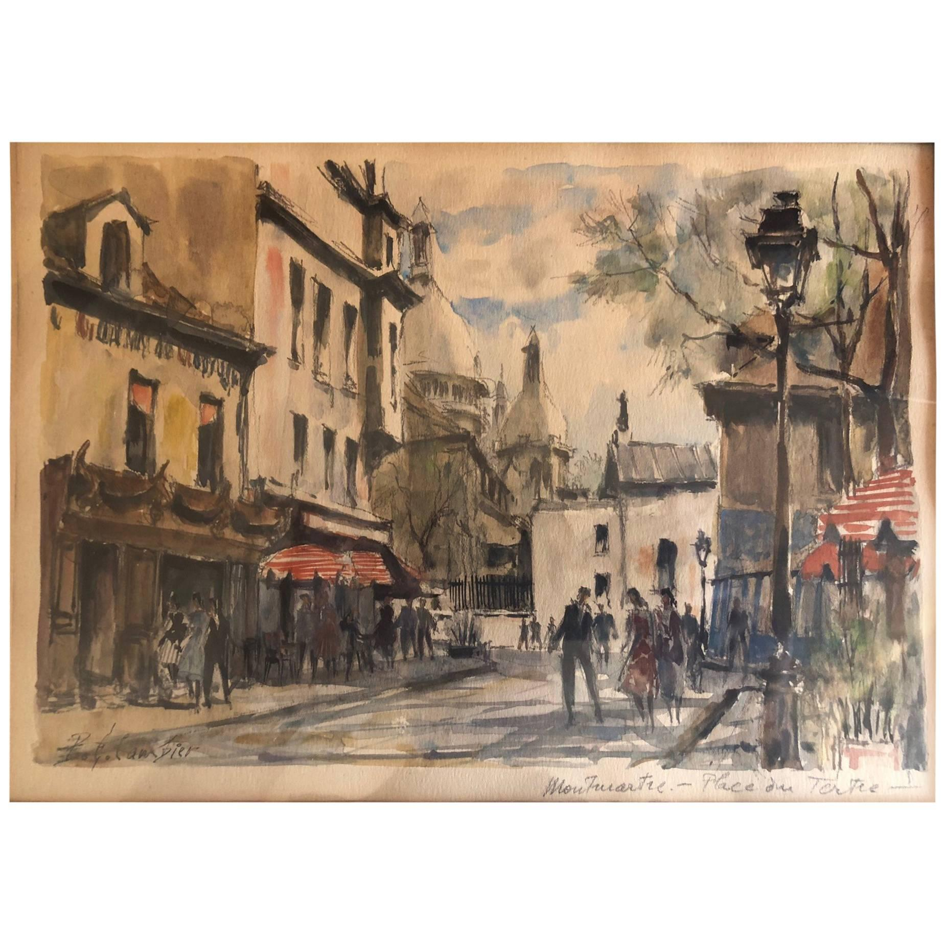 1849x1849 Paris Street Scene Watercolor By Pierre Eugene Cambier For Sale