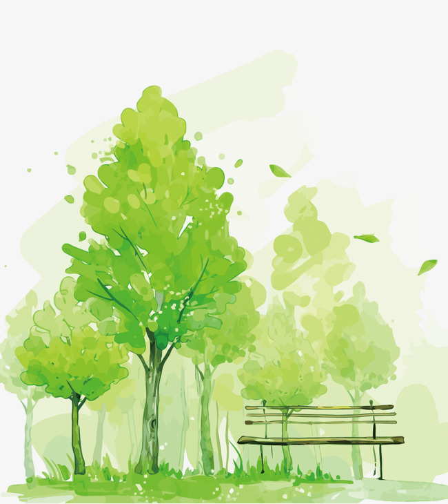 650x730 Vector Green Trees, Green, Watercolor, Park Png And Vector For