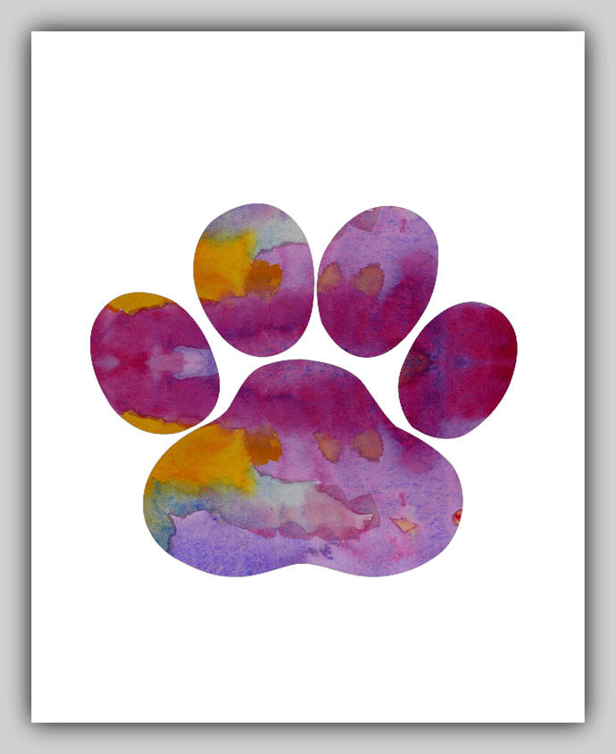 690x845 Dog Paw Print, Dog Paw Prints, Watercolor, By Bittenbyermines