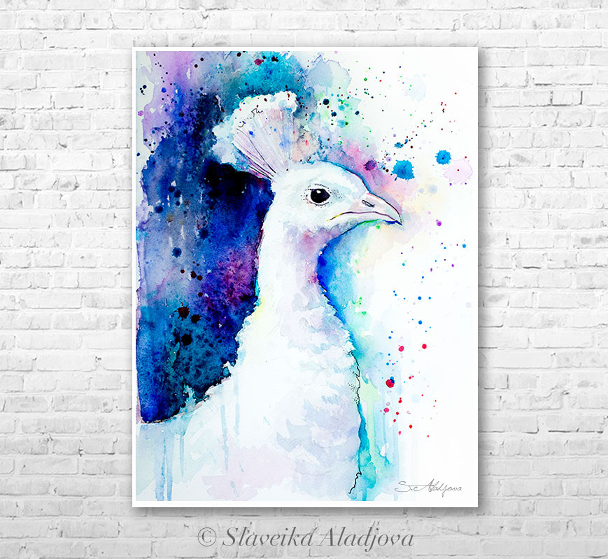 869x799 White Peacock Watercolor Painting By Slaveika Aladjova On Behance