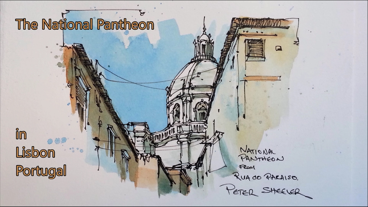 1280x720 Pen And Wash, Urban Sketch Style Watercolor Demonstration