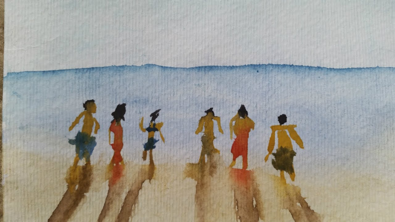 1280x720 Simple Watercolor Beach Scene People Easy Figures