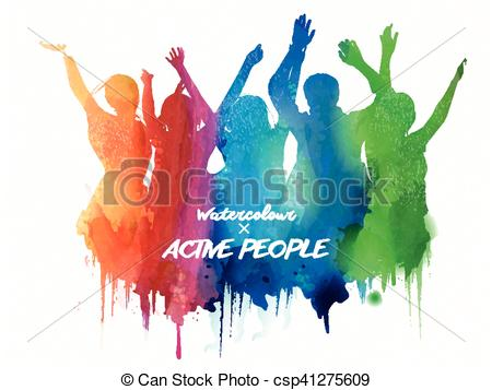 450x357 Watercolor Jumping Silhouette, People In The Concert Or Carnival