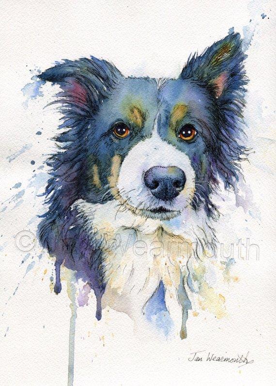 570x796 Custom Dog Portrait Custom Pet Portrait In Watercolor Pen Amp Etsy